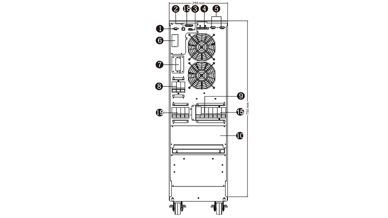 UPS Phasak trifásica-trifásica 10000VA Online LCD